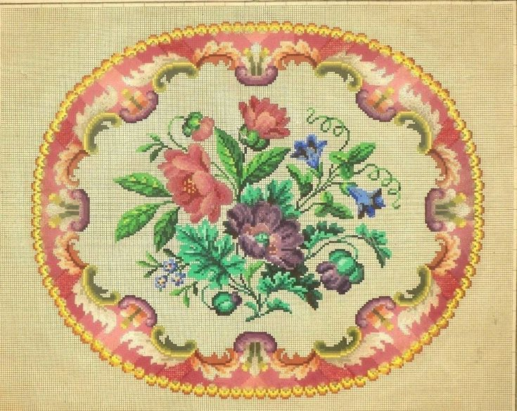 A Lovely Berlin Woolwork Floral Pattern Produced By L W Wittich In Berlin
