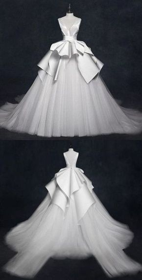 V Neck Sleeveless Stain Wedding Dresses,A Line Tulle Bridal Dresses