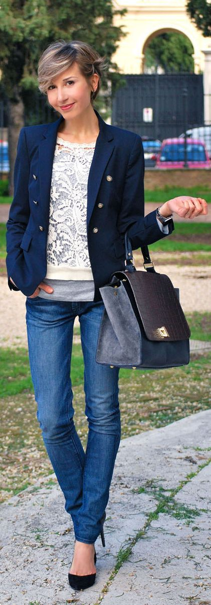 Lace overlaid grey knit, topped with blazer - love it!