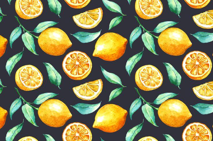 Lemon watercolor seamless pattern on Behance