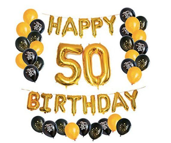 50th Birthday Party Decorations Kit Balloons Happy Foil Balloon 50 Number Black Gold White Latex