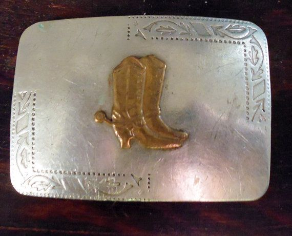 Belt buckle, cowboy boot buckle,  nickel silver, rectangular buckle, engraved belt buckle, cowgirl belt buckle, western belt buckle