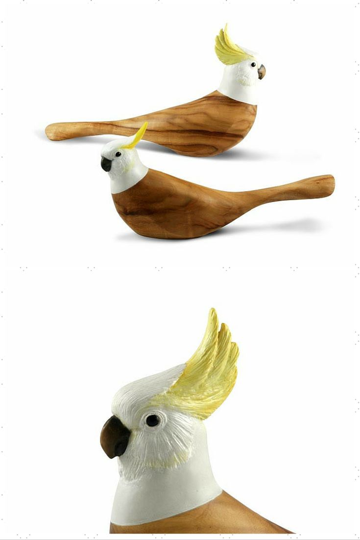 This hand carved representation shows the Sulphur Crested Cockatoo in its upright pose, exhibiting a more alert state . The body of the bird is crafted from sustainable Camphor Laurel and the head from resin and hand painted.