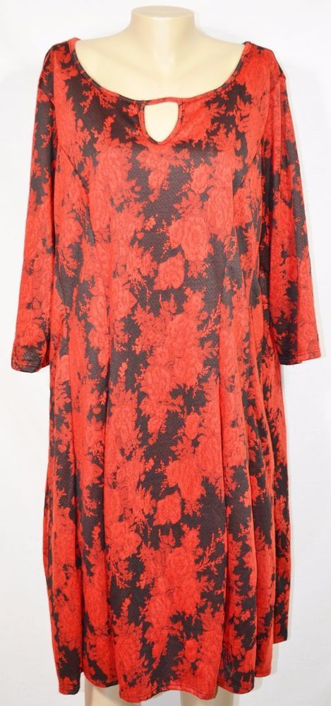 AVENUE Red Black Floral Print Dress 26 28 3/4 Sleeves Unlined Keyhole Front Back #Avenue #Sheath #Cocktail