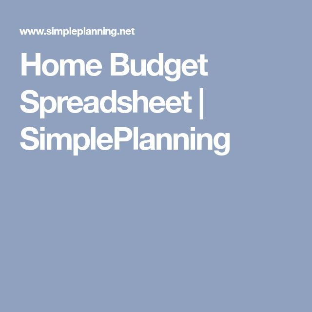 Home Budget Spreadsheet | SimplePlanning