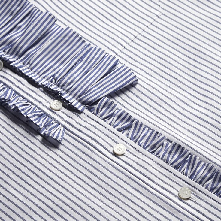 Pinstriped Cotton Shirt with Ruffles | Burberry