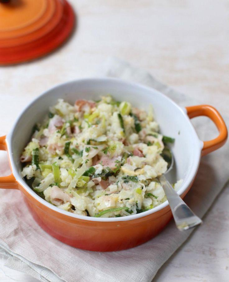 Zin in stamppot? Ga voor een variatie en probeer deze bloemkoolstamppot met ham en kaas eens.
