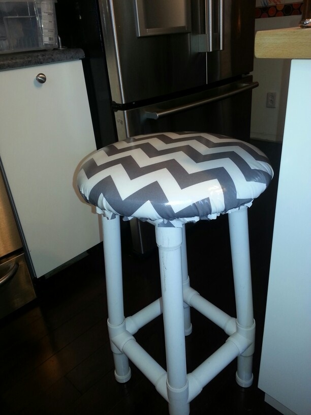 Chevron print pvc bar stool re do up scale pinterest for Pvc furniture plans