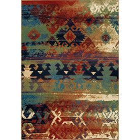 Orian Rugs Berkley Blue Rectangular Indoor Machine Made Southwestern Area Rug Common 5
