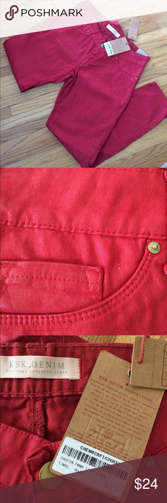 """NWT Argentina brand KSK red heritage denim Unusual fabric finish with a slightly waxy look (see pic #2). 99% cotton 1% spandex. Machine wash and dry.  Skinny stretch skimmers.  Measurements: waist 30"""", front rise 8"""", back rise 11.5"""", inseam 28"""", across thigh 10.5"""" KSK Jeans Skinny"""
