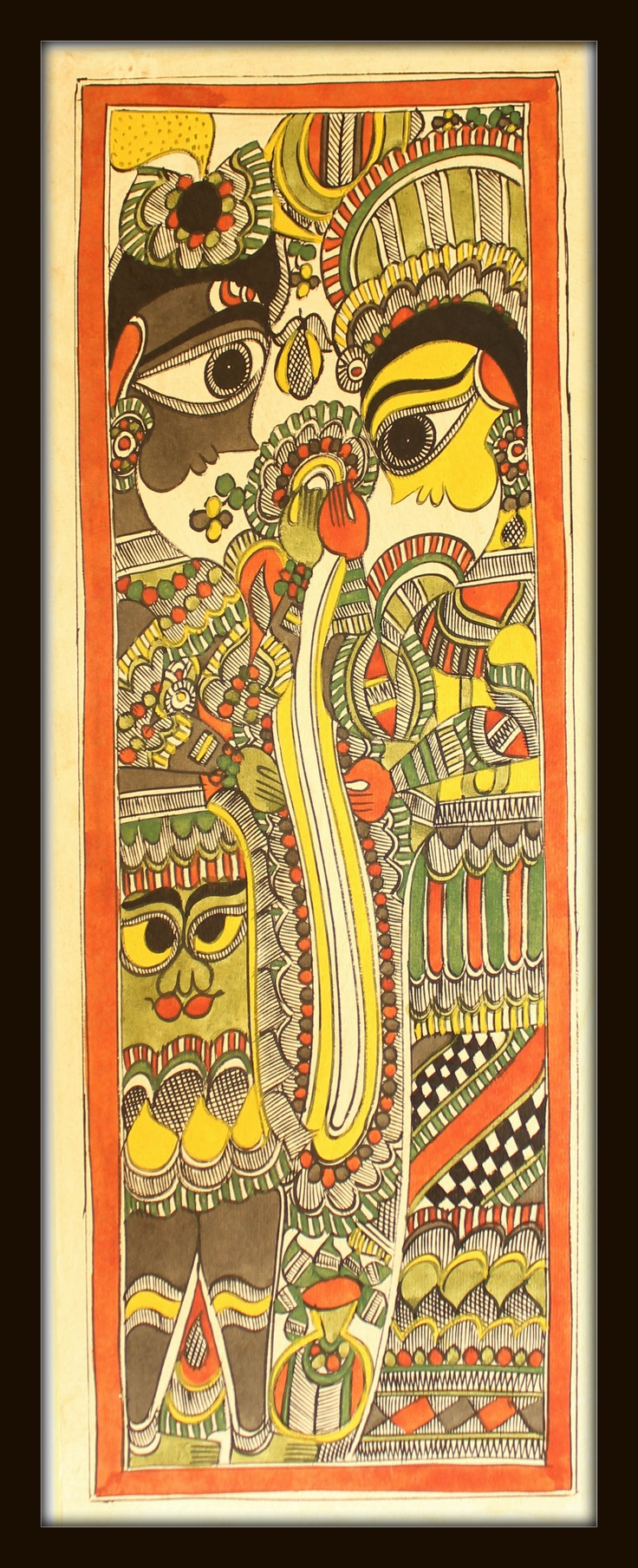 Lord Krishna & Radha . Madhubani Paintings are shrouded in antiquity and mythology. Mithila painting popularly known as Madhubani is a style of Indian painting, practiced in the Mithila region of Bihar state, India and the adjoining parts of Terai in Nepal.