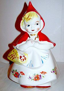 "Hull Pottery - Little Red Riding Hood - #967 Cookie Jar - Original 1940's  13"" Tall"