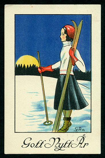 Nyårskort av GA-n. Från 1930-talet.