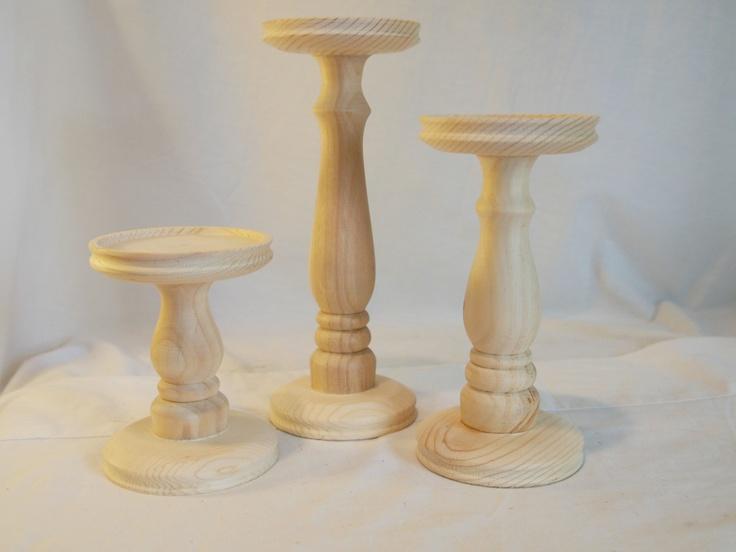 Unfinished Turned Wood Pillar Candle Holders