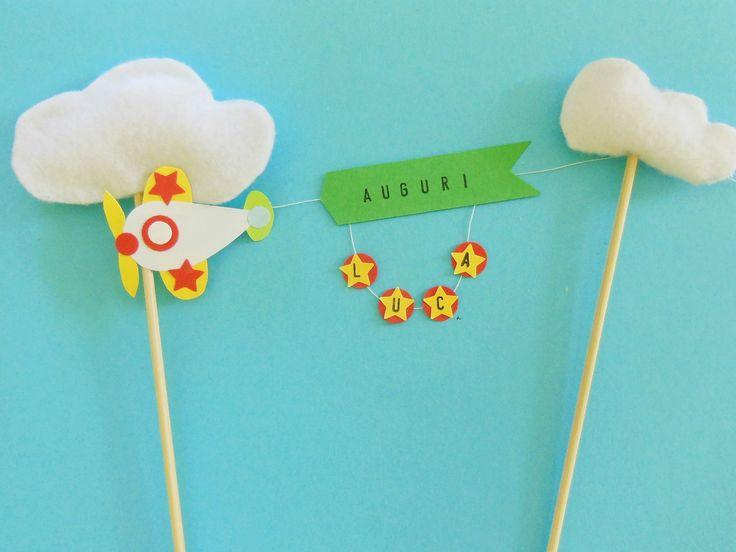 """Cake-topper di carta """"aeroplano con striscione"""": per una festa celestiale! : Accessori casa di oggettiamo"""