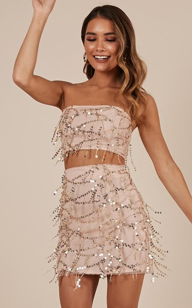 Electric Body Two Piece Set in gold sequins  | Showpo