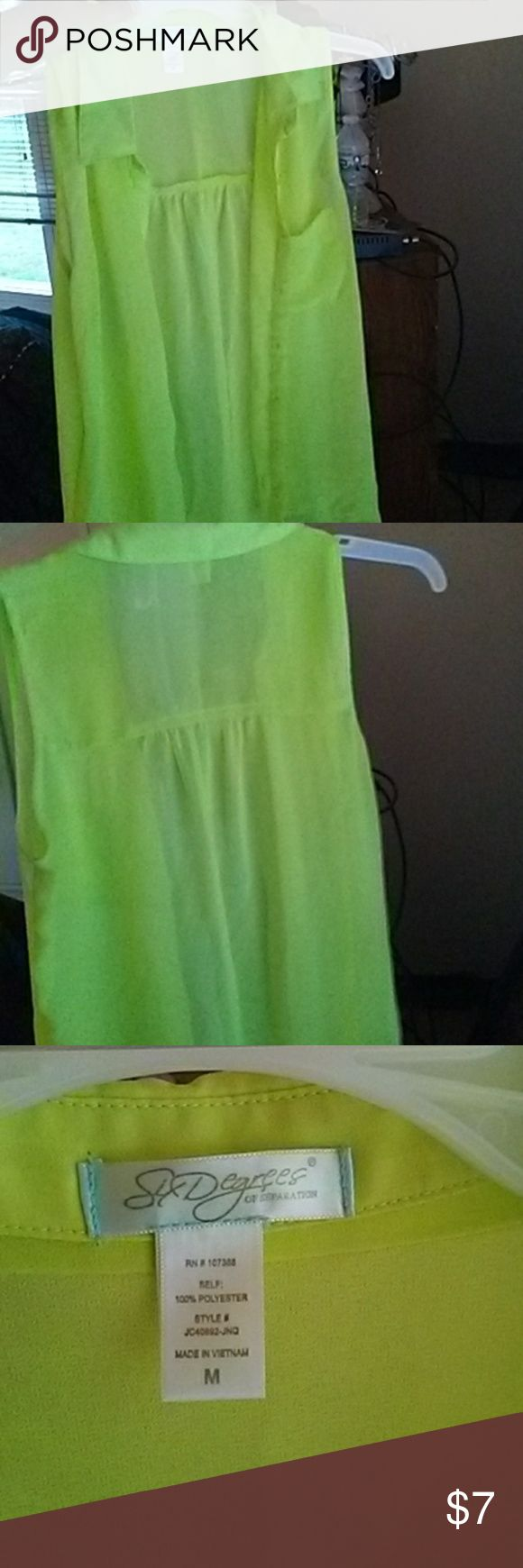 Yellow top Neon yellow button up sleeveless shirt. See through. Good condition. Tops