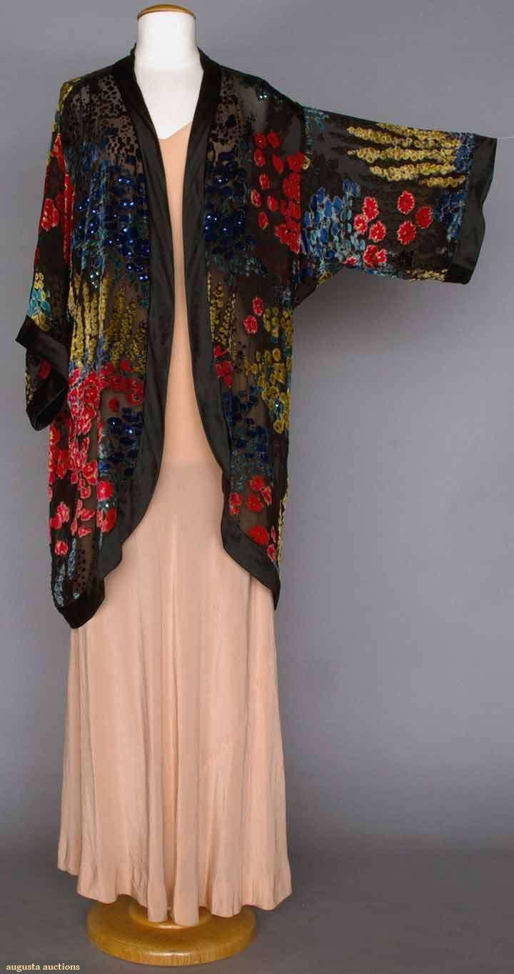 "CUT VELVET EVENING COAT, 1920s Blue, coral & yellow flowers cut to black chiffon, scattered sequins, 3/4 length kimono sleeves, black silk satin edge trim, L 37"""
