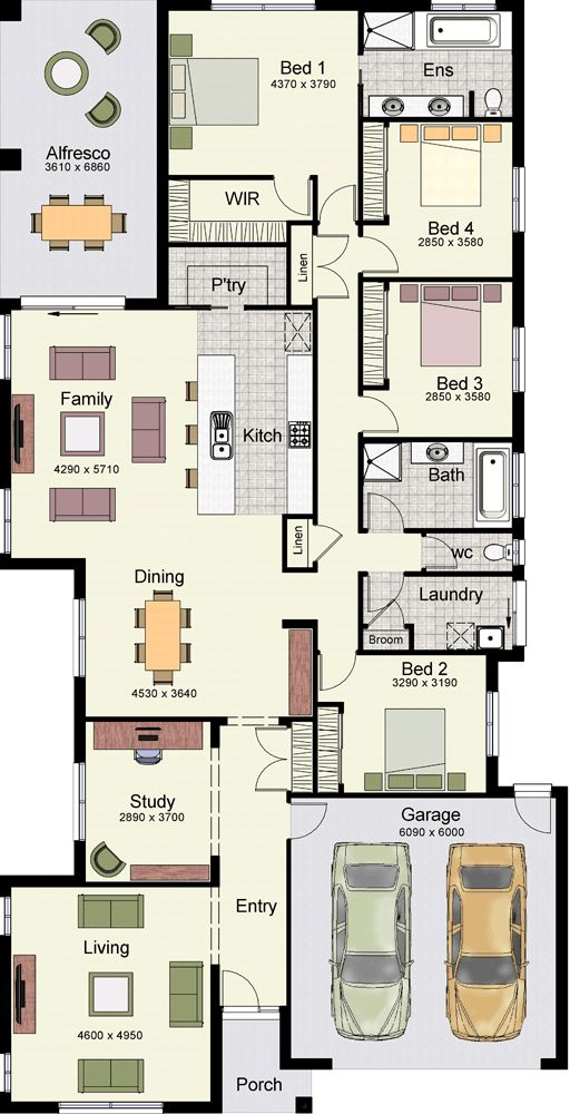 Jagera 294 - 4 Bedroom, 2 Bath, Plus Study, 2 Car Garage, 1 Story, Interior Pictures At Link, By: Hotondo Homes in Australia