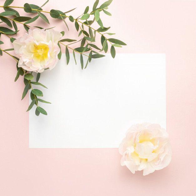 Papel Em Branco Flores De Tulipa Galhos De Eucalipto Em Fundo Rosa Pastel Poster Floral Montagem De Fotos Molduras Ornamentos Vintage