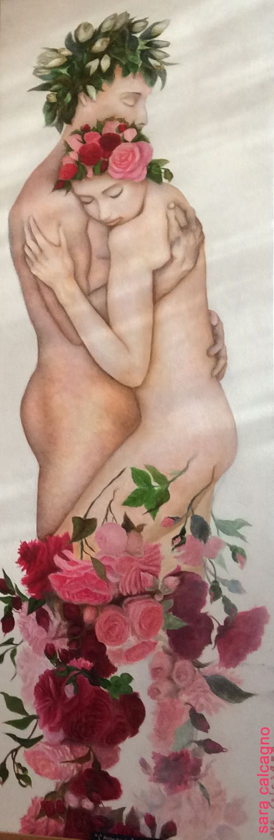 Queens of Flowers. The Embrace, oil on panel, 150 x 50 cm, by Sara Calcagno, italian painter