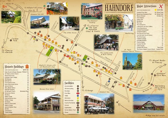 Hahndorf Main Street Tourist Map - Australia's oldest surviving German settlement. Hahndorf is the jewel of the Adelaide Hills and one of South Australia's most popular towns. A mere 20 minute drive from the Adelaide CBD, Hahndorf can be easily accessed via the Southern Eastern Freeway. The town is immensely popular with visitors from all over the world as well as locals and many premium businesses have set up their shops in this iconic town.