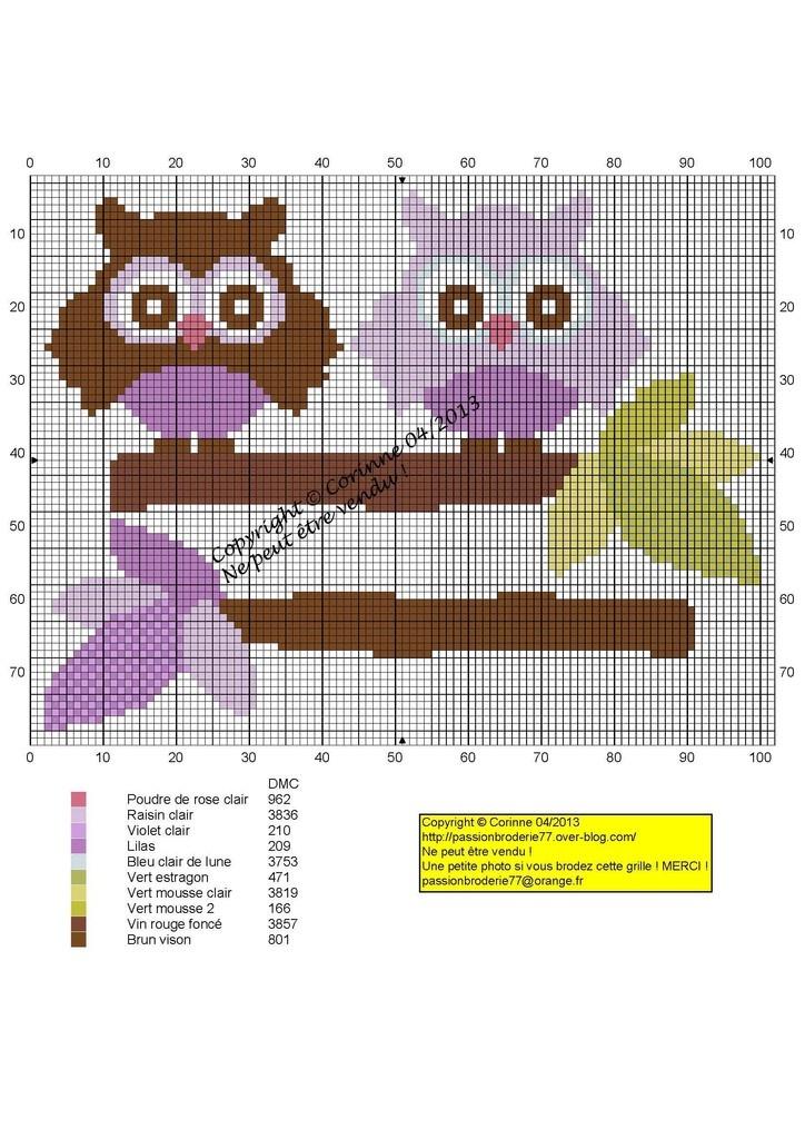Les bébés de Chouetty (Baby Owls), designed by Le blog de Passionbroderie77 blogger, Corinne Thulmeaux.