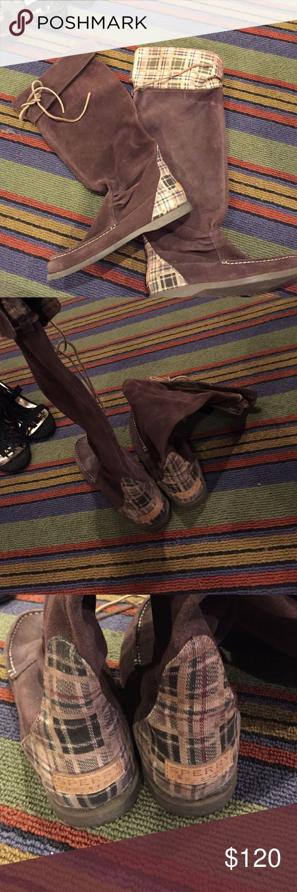 Limited Edition Suede Sperry Top-Sider Boots worn once or twice -- perfect condition. Leather upper. No longer made. Cute pattern on heels and under flaps. Adjustable calf. Flap can be unfolded for over the knee look Sperry Top-Sider Shoes Winter & Rain Boots