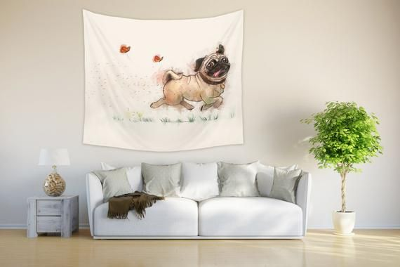 Pug Tapestry Wall Hanging For Nursery And Child Room Funny Dog