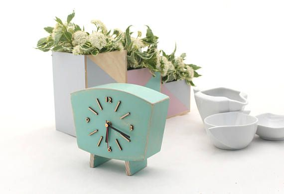 Pastel Mint Clock Table, Wood Desk Clock, Unique Wooden Distressed Mantel clock, for Her, Summer decor Mint Green for home, Wedding gift  Table clock handmade and handpainted with acrylic paints and distressed. Protected ecological varnish. This Wood Desk Clock made in Vintage style 60s. Will be unique gift ideas for wedding and birthday, Xmas gift for home decor or any ocasion. It can decor mantel just great wooden decor.  Made from solid wood and plywood. - Mounted quartz - Powered by…