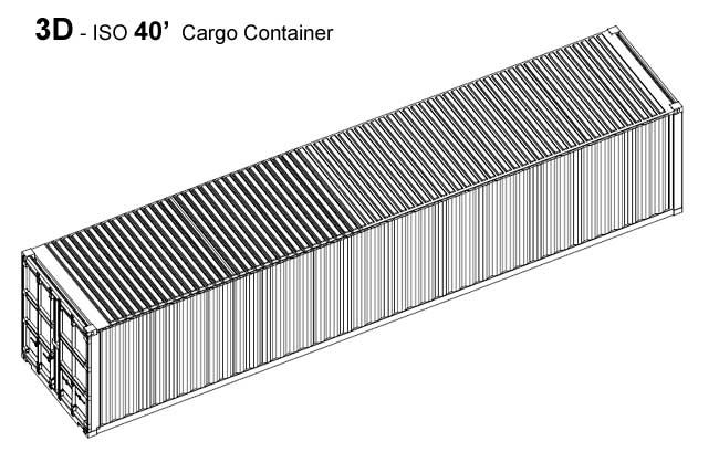 Iso 40 Shipping Container Model Download 3d Cad Drawing