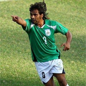 Mohammed Hoque of Bangladesh celebrates scoring