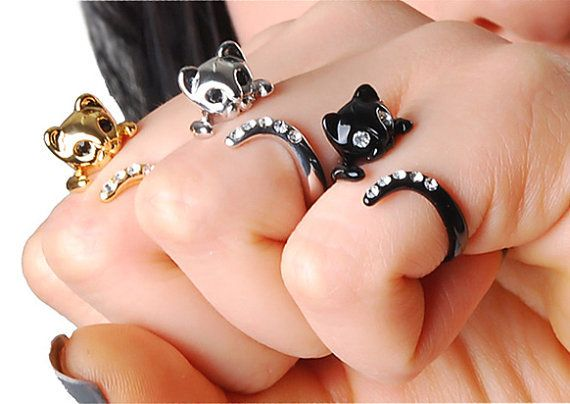 This is SO CUTE. Gahhh.Cute Rings, Kitty Cat, Cat Rings, Catlovers, Jewelry, Swarovski Crystals, Crazy Cat Lady, Cat Lovers, Black Cat