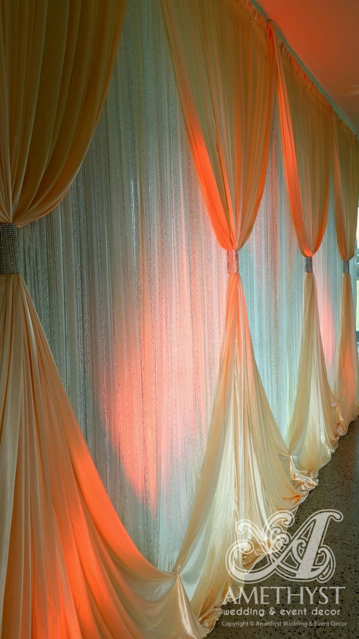 Wedding Backdrop With Glitter Curtains Silver Diamante Curtain Ties Orange Lighting Wedding