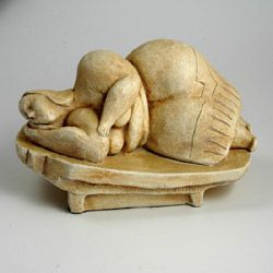 Sleeping Goddess of Malta, replica of a sculpture found in the Hypogeum, a temple believed to be used for worship, dreams and healing. The temple complex was build around 4,000 BC