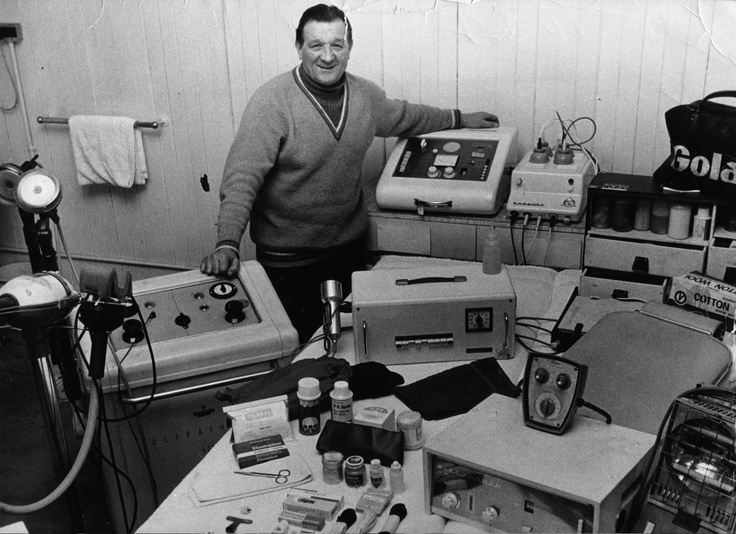 Physio Bob Paisley shows off some new equipment