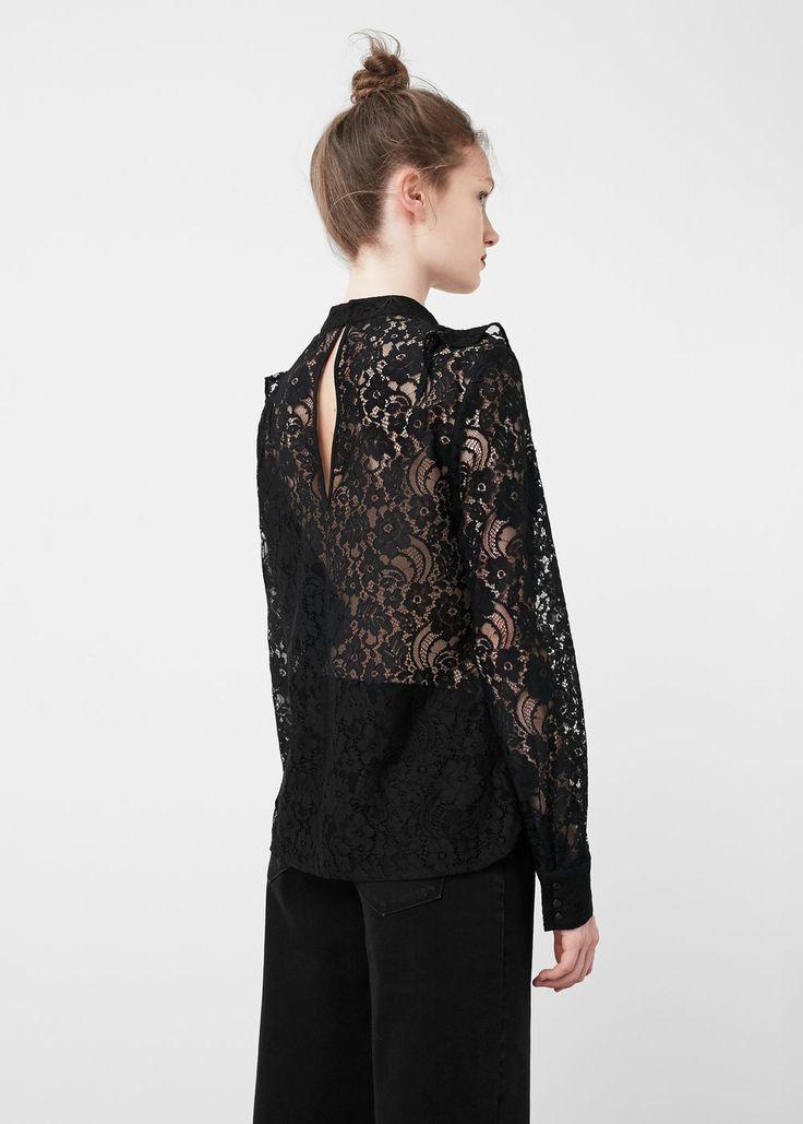 Kanten blouse | MANGO