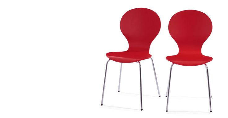 2 x Kitsch Scarlet Red Dining Chairs | made.com