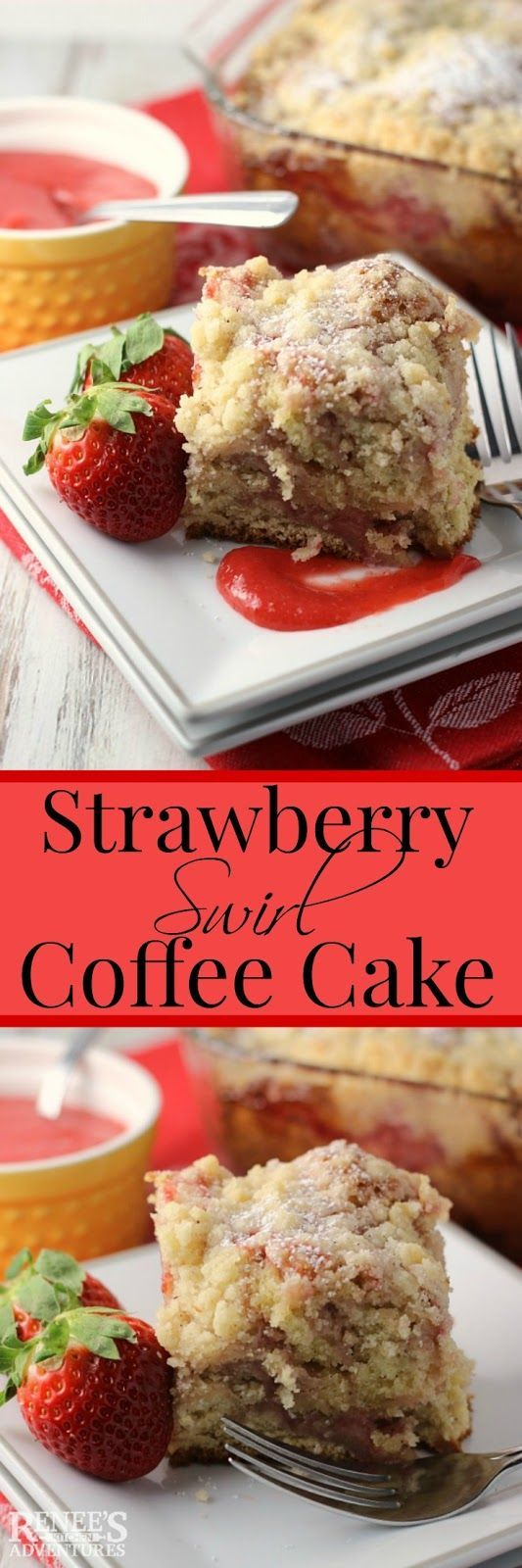 Strawberry Swirl Coffee Cake | Renee's Kitchen Adventures  - dessert recipe for a moist coffee cake with fresh strawberry puree ribbons and a buttery streusel topping #SundaySupper #FLstrawberry @Florida Strawberries