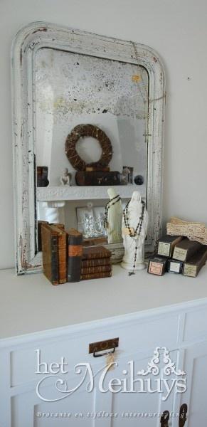 Antieke brocante shabby chic Franse witte spiegel