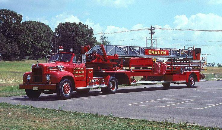 Old Mack Fire Trucks : Oaklyn nj fd mack b series tractor drawn aerial