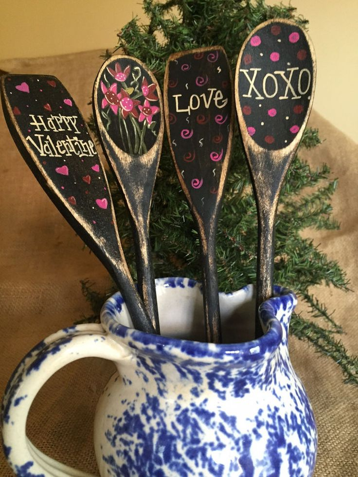 4 Valentine Flowers Hearts XOXO Love Wooden Spoon Utensil Crock Jar Fillers #PrimitiveCountry