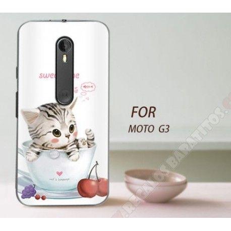 Carcasa divertida plástica diseño gatito para Smartphone MOTO G3
