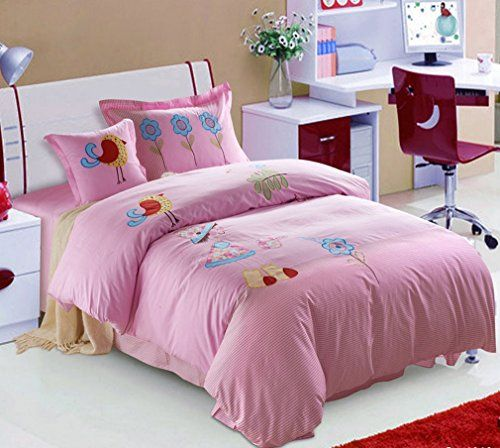 SAYM kids BeddingPrinting Embroidery 4 Piece Toddler Bedding Set for GirlsBoysKids Bedroom Sets Full Size ** Check out the image by visiting the link.