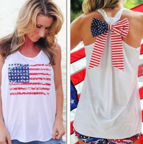 Soft white cotton tank top with a racerback. American flag printed on back with bow on back. Fits true to size.