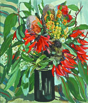 'Coral and Banksia,' oil on canvas, Margaret Preston, 1939. Gift of Eva and Marc Besen 2002, TarraWarra Museum of Art Collection.