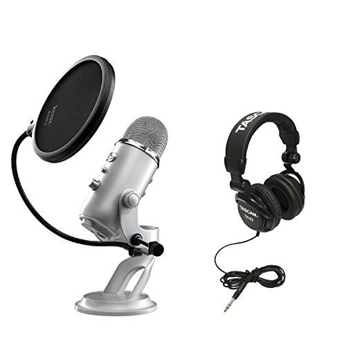Blue Microphones Yeti USB Multi-Pattern Microphone with Full Size Studio Headphones and Knox Pop Filter for Yeti Microphone #deals