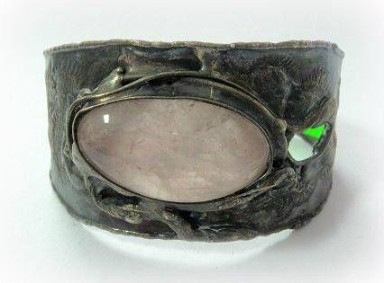 http://megasilver.pl/Bransoleta-p127 #Bracelet #metalwork #handmade #pink  #quartz #stone #jewelry #jewellery