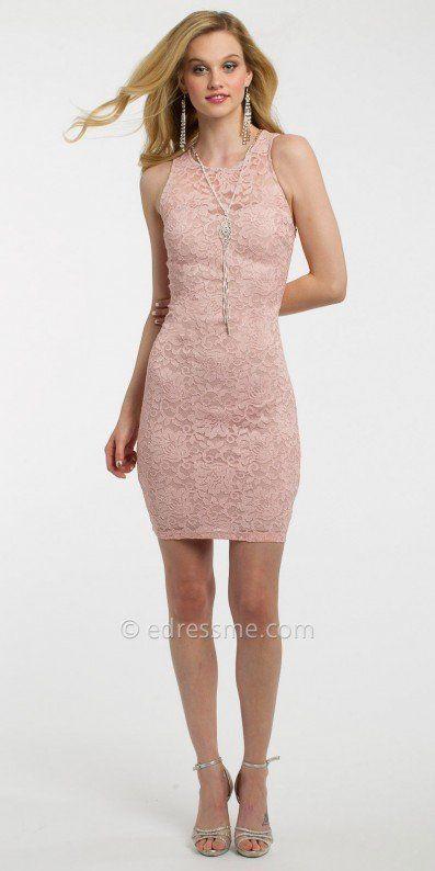 Lace back cocktail dress