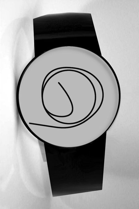 Ora Unica, designed by Denis Guidone, is a unique watch that shows hour and minute on a single drawn two circular faces, which one ends points to hour and another points to minute.